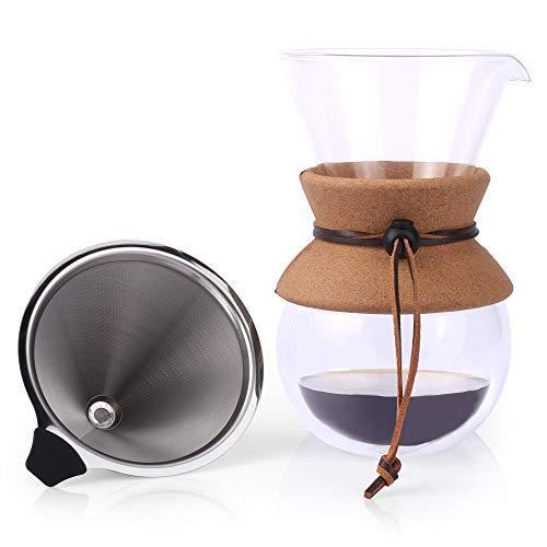 Pour Over Kaffeebereiter von Apace - 2019 Premiumkollektion - Elegante doppelwandige Kaffee Handfilter Glaskaraffe mit Permanentfilter aus Edelstahl