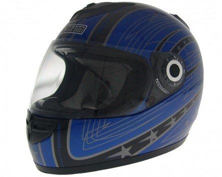 Einstellbare Wangenpolster (Integralhelm, Rollerhelm, Motorradhelm WACHMANN WA-20 Eques schwarz / blau XL)