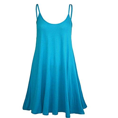 Fast Fashion - Robe De Swing Sans Manches Plaine À Lanières - Femmes Turquoise