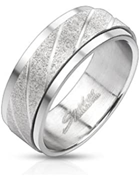 Paula & Fritz® Ring aus Edelstahl Chirurgenstahl 316L Spinner Band mit Wirbelmuster verfügbare Ringgrößen 60 (...