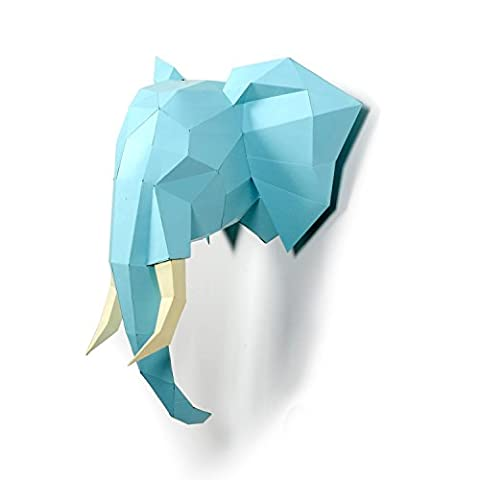 Timorn DIY Vorgeschnittenes Papercraft Assembly Kit 3D Wand Elefant Head Trophy (Elefant)