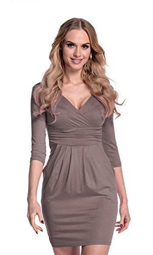 Glamour Empire. Damen Jersey Gerafftes Tulpenkleid mit Taschen Gr. 38-48. 236 (Cappuccino, EU 40, L) (Anlass Glamour Besonderen Kleid)