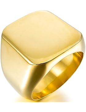 MunkiMix Edelstahl Ring Golden Ton Siegel Signet Herren