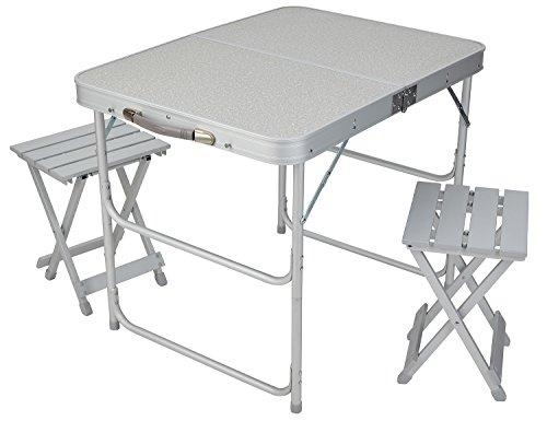 Valigia tavolo set da campeggio tavolo pieghevole e 2 sgabello