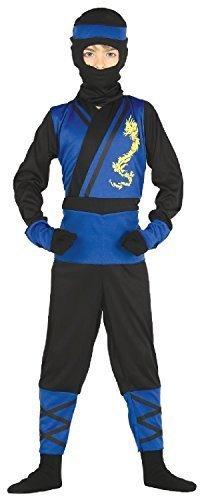 Japanisch Ninja Krieger Kämpfer Attentäter Um die Welt Halloween Kostüm 3-9 Jahre - Blau, 3-4 years (Blue Ninja Halloween Kostüm)