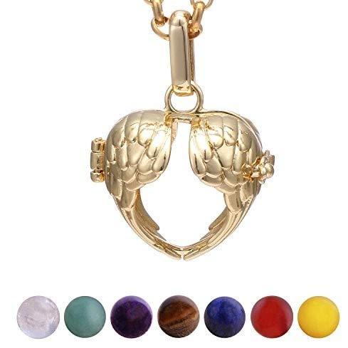 Morella Damen Halskette 70 cm Edelstahl Gold mit Anhänger Herz Engelsflügel und 7 Edelsteinen Chakren-Kugeln in Schmuckbeutel -