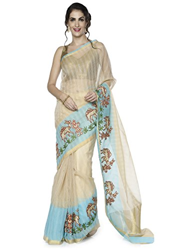 sarvagny clothing cotton blue color daily wear party wear saree with blouse piece