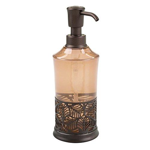 InterDesign Fauna Dosificador de jabón, práctico dosificador de baño con bomba de plástico y dibujo de hojas, dispensador de líquidos, marrón y bronce