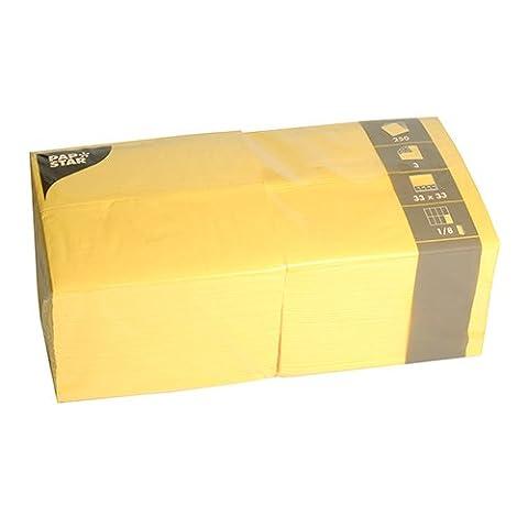 Papstar Servietten / Tissueservietten gelb (250 Servietten) 33 x 33 cm, 3-lagig, 1/8-Falz, für Gastronomie, Feste oder Haushalt, #84580