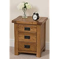 Amazon rustic bedside tables bedroom furniture home cotswold rustic solid oak 3 drawer bedroom bedside table 50 x 41 x 59 watchthetrailerfo