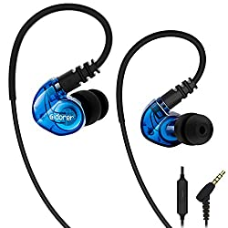 adorer RX6 Sport Kopfhörer In Ear mit Mikrofon IPX4 Spritzwasserfest Stereo Ohrhörer, Sportkopfhörer für iPhone, iPad, Samsung, Android, iOS, MP3 Player - Blau