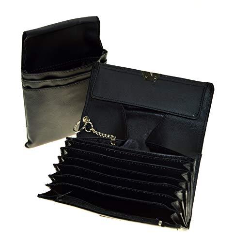 Kellnerbörse Kellnertasche Portemonnaie mit Holster Halfter - Leder-geldbörse Mit Reißverschluss An Der Rückseite