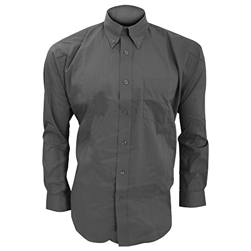 Kustom Kit Corporate Oxford Herren Hemd, Langarm Dunkelblau