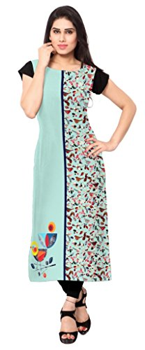 Ziyaa Multicoloured Boat Neck With Cap Sleeve Faux Crepe Digital Print Kurti  available at amazon for Rs.399