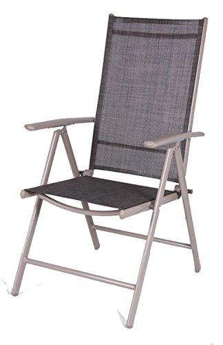 Linder-Exclusiv Fauteuil Pliant 7 Positions avec Cadre en Aluminium et revêtement Textile 54 x 64 x 106 cm – Noir
