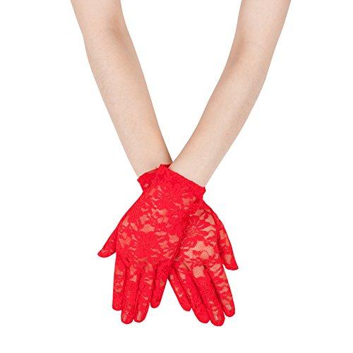 Gants en satin et dentelle pour femme, style vintage long ou court, PVC Style 18