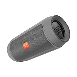 JBL Charge 2+ Tragbarer Spritzwasserfester Wireless Bluetooth Stereo-Lautsprecher mit Aufladbarer Batterie, Integrierter Freisprecheinrichtung, 3,5 Stereoeingang und Social-Modus Funktion - Extrem kraftvoller Sound und Bass - Kompatibel mit Apple iOS und Android Geräten - Grau