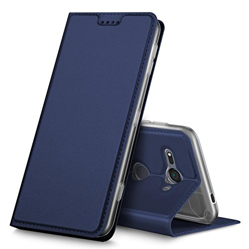 Verco Handyhülle für Xperia XZ2 Compact, Premium Handy Flip Cover für Sony Xperia XZ2 Compact Hülle [integr. Magnet] Book Case PU Leder Tasche, Blau