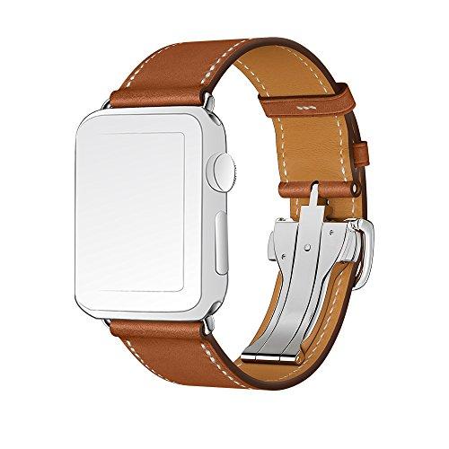 Banda de reloj de Apple, banda de cuero genuino de SUNKONG sola excursión del despliegue de la hebilla de la pulsera Correa de reloj de la correa de cuero para 38 mm Apple Watch serie 2 serie 1