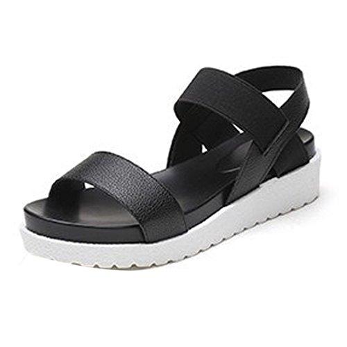 Sandalen Damen Sommer Btruely RömischSchuhe Böhmen Schuhe Damen Flach Sandalen Mädchen Schuhe Flip Flops (38, Schwarz)