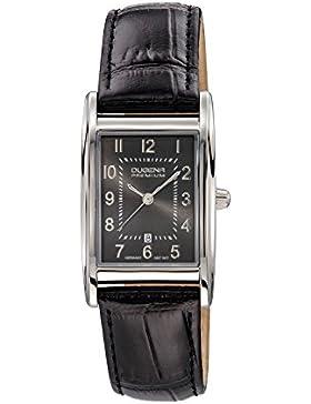 Dugena Damen-Armbanduhr Quadra Artdeco - Traditional Classic Analog Quarz Leder 7000125
