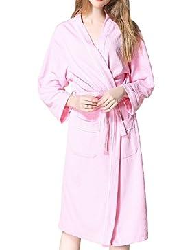 Unisex Suave SPA Albornoz Kimono Robe Sleepwear con Bolsillos De Longitud De La Rodilla
