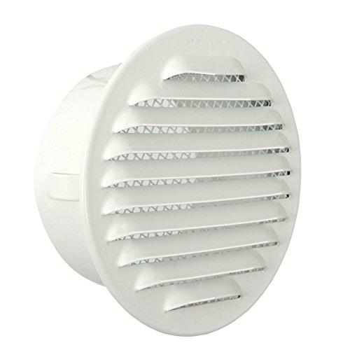 La Ventilazione GTA100RB Griglia Tonda da Incasso, Alluminio Verniciato Bianco