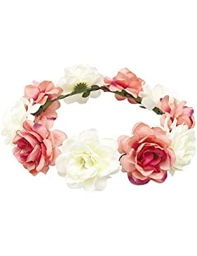 TININNA Diadema guirnalda de flor,Elegante Floral corona guirnalda para fiesta de boda Featival-Carne Rosada