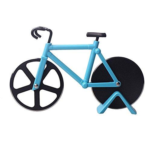SUOSI Bicicletta Pizza Cutter doppio in acciaio inox Bike Pizza taglierina di rotella con rivestimento antiaderente Serveware Rotelle tagliapizza (Blu)