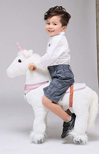 UFREE Horse Best Birthday Gift for Girls. Action Pony Toy, Ride on Large 29'' for Children 3 Years Old to 6 years old, Amazing Birthday Surprise.(unicorn with pink horn)