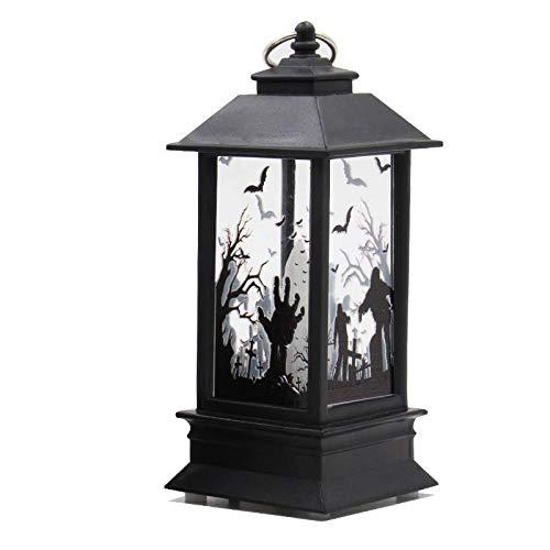 Xuba Kleine Halloween-Lampe, Vintage-Kürbisschloss, Ghoul, handgemustertes Licht, für Partys, Halloween, Dekoration, Kleine Geisterhand-Lampe