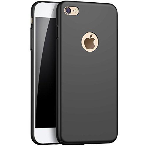 iPhone 6, 6S Matt Fall, suarb Seidig Feel Slim & Light Hard PC stoßfest Kratzfestigkeit Back Cover Bumper mit Tempered Glas Displayschutzfolie für Apple 6/6S, 11,9cm Schwarz, iPhone 8-4.7