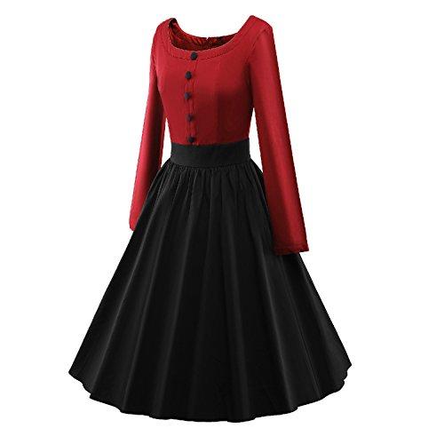 iLover Vintage 50s Pleated Style Color contrast Audrey Rockabilly Swing robe de fête de pique-nique Red Black