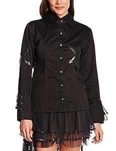 Camisa de manga larga celibato 14011405.008M Mujeres gótica de Steampunk, blusa cordón vuelta continua, M grande, negro