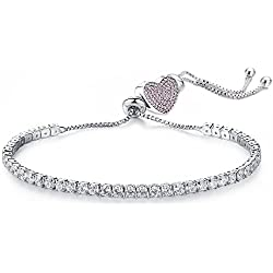 Jewels Galaxy White Crystal Rhodium Plated Charm Bracelet For Women