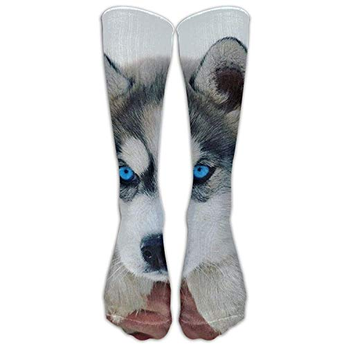 DEFFWBb Siberian Husky Comfortable Knee High Sport Sock for Women Or Man Baseball Tube Socks 50cm -