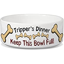 Tripper's Dinner Keep This Bowl Full! - Personalised Dog Food Bowl - 180mm x 77mm