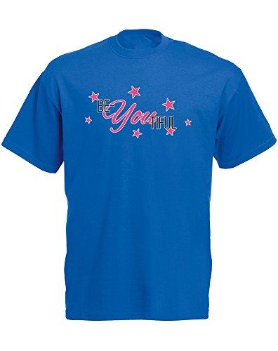 Brand88 - Brand88 - Be-You-Tiful, Mann Gedruckt T-Shirt Königsblau/Transfer