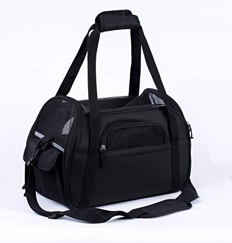 Zedelmaier Faltbare Hundetasche, Hundetragetasche, Katzentragetasche, Transporttasche Transportbox für Hunde und Katzen (M - 43 x 23 x 29 cm, Schwarz)