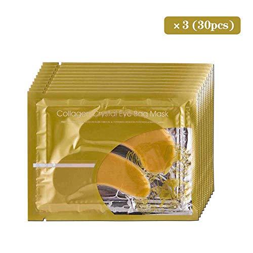 Dingcaiyi 30 Paar Goldkollagenaugenmaskenpulver-Kristallgelaugenmaske, Feuchtigkeitsspendend, Augenringe, Tränensäcke, Straffend, Augenabstand(Yellow) -