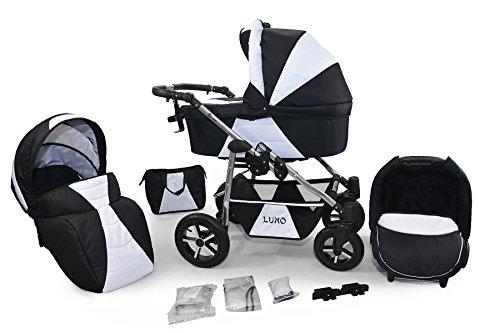 Clamaro 'LUNO' 3in1 Premium Kombikinderwagen inkl. Babywanne, Sport Buggy und Auto Babyschale Aufsatz (ISOFIX), klappbares Gestell mit 360° Luftreifen - Muster: 10 Schwarz Weiss