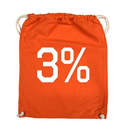 Comedy Bags - 3% - LOGO - Turnbeutel - 37x46cm - Farbe: Schwarz / Silber Orange / Weiss