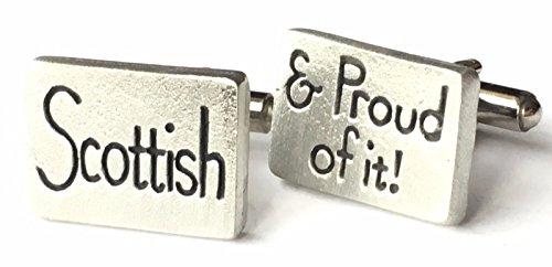 personalisiert Manschettenknöpfe Schottische & Stolz darauf Hand Made Zinn (N99) + 59mm Button (Schottische Manschettenknöpfe)
