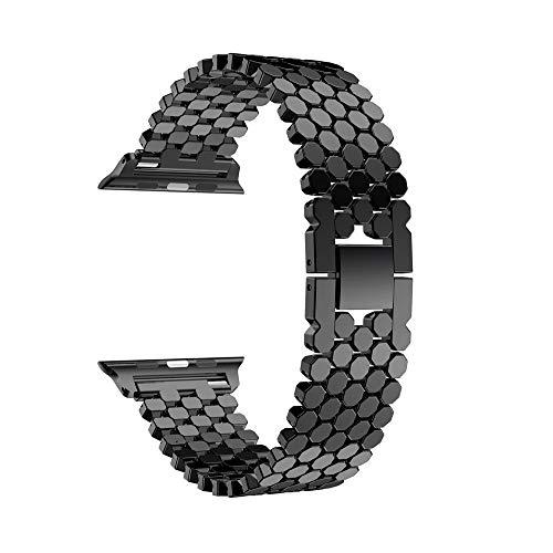 Vamoro Ersatz-Edelstahlarmband Ersatz Uhren-Armband Edelstahl Metall Uhrenarmband Magnet Uhrenarmband für Apple Watch Series 4 40mm(Schwarz)