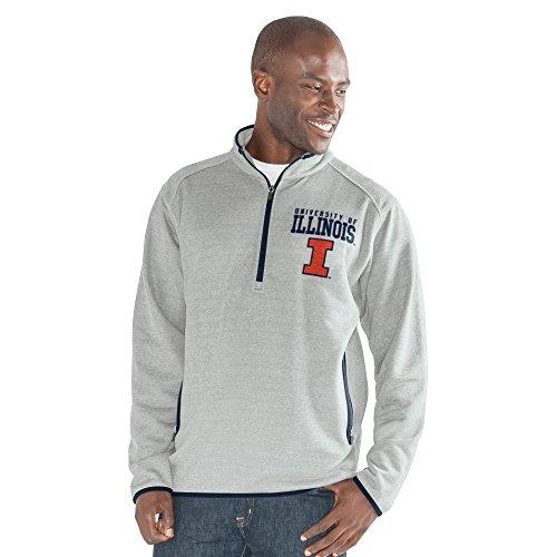 G-III Sports NCAA Herren 1auf 1Quarter Zip Fashion Top, Herren, 1 on 1 Quarter Zip Fashion Top, grau meliert, Large -