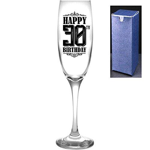fantaisie gravé/imprimé Prosecco Flûte à champagne – Joyeux 30e anniversaire, Noir, Do Not Engrave A Message On The Reverse Side