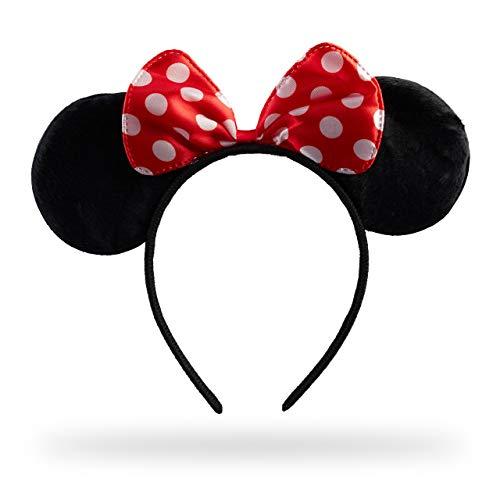 Relaxdays Haarreif Maus, Mit Mäuseohren & gepunkteter Schleife, Öhrchenhaarreif, Kopfschmuck Maus Kostüm, ()