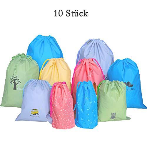LEBENSWERT 10 Stück Packbeutel Set Bunt Reisebeutel Organizer Beutel für Koffer, Premium Rucksack und Reisetasche mit 4 Größen Wasserdicht Tunnelzug Packsack Reise Tasche