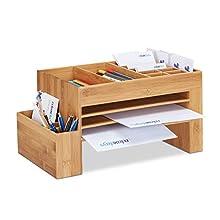 Relaxdays Bamboo Desk Organizer, Office Storage System, Pen Holder, Stationery, HWD 20 x 40 x 21.5 cm, Natural