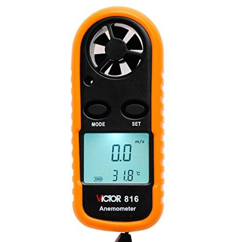 VICTOR vc816Mini Digital Anemometer Wind Speed Air Wind Speed Maßstab Messgerät LCD Temperatur Test orange